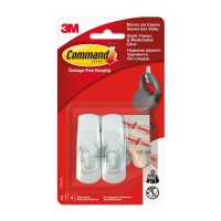 Крючки 3M Command™ 17002 прямоугольные до 450г, Белые