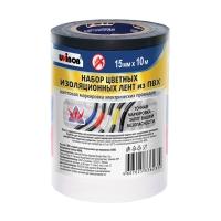 Набор ПВХ изолент UNIBOB®, Разноцветные, 10м:15мм, блок 5 шт.